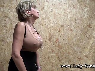 Brit honey girl Sonia toying with her massive bra-stuffers