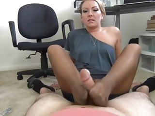 Feets in stockings mature woman makes cum with good footjob
