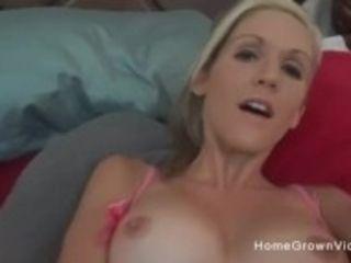 """Gorgeous wife masturbating then sucking a hard cock"""
