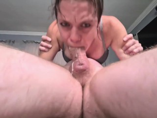 Roughly 69 face fucking a dirty whore's mouth till she repeatedly gags on my cock