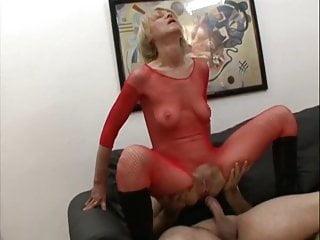 Granny Rita in red fishnet pleasures 2 hard cum filled cock