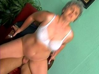 Lewd grey haired bitchie mature slut rides fat cock on top