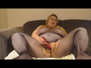 BBW wee deoch an doris Dildo Fishnet Bodystocking