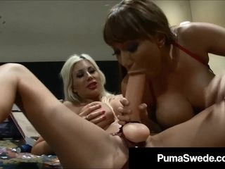 Ash-blonde porn industry star Puma Swede appears With A Pizza & strap dildo!