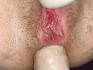 Girlfriend takes her fattest rectal fucktoy yet!