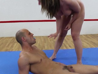 'brunette amateur milf smother him after wrestling'