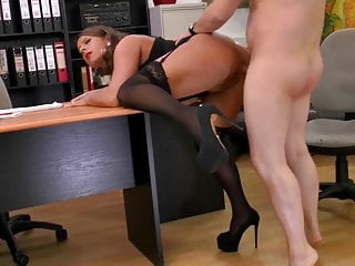 Filthy chatting cougar ass-fuck assistant gigantic bumpers pantyhose