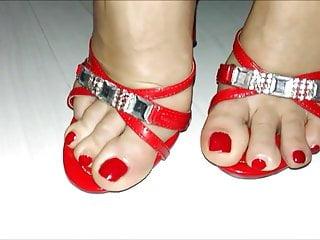 Wondrous  HIGH high-heeled shoes crimson