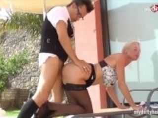 """""""MyDirtyHobby - Horny step-sisters fuck their own pool staff in a sexy foursome"""""""