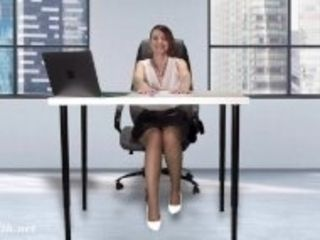 """""""Downblouse at work — Boss flashing her tits and pussy"""""""