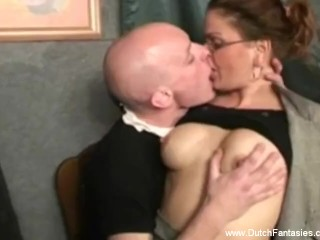 Bald Dutch Dude Gets Some Sweet Pussy Licking Session