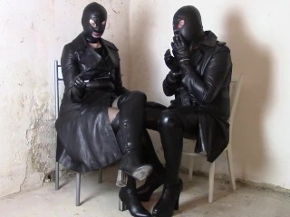 Sunday in leather coats: dominatrix and sissy smoking in the leather