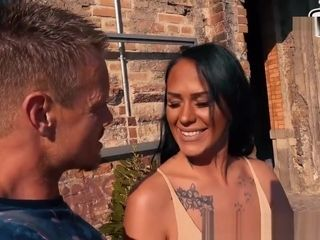 german latina milf public pickup with natural tits sex casting on street