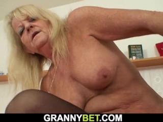 'Mature Blonde In Stockings Riding Stranger's dick'