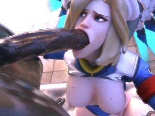Overwatch Mercy Medic provides first aid to injured cock