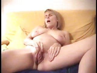 Big Labia Blonde Spreads and Masturbates on Couch