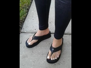 latina milf neighbor I just met let me record her perfect feet & white toes