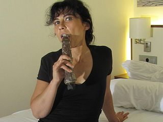 Furry mature fuckslut fapping with a fuck stick