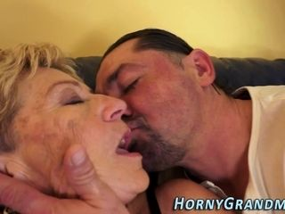 Nailed old lady takes cum