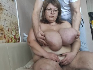 TITS 12 SIZES. MACROMASTIA. MOTHER'S MASSAGE. MILKING.IRENA DOYKINA