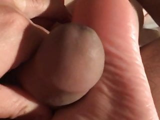 Homemade Nylon foot wank and hand-job wifey