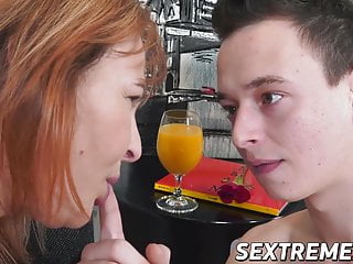 Fat MILF Christine White bangs young stud before cum spray