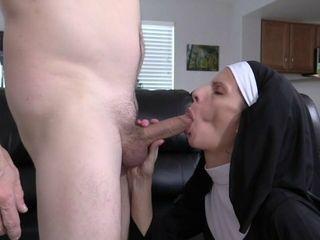 Wife Crazy nun fuck in stocking