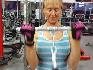 Aged unreserved forth unstinting breasts with the addition of robust feet trains biceps 2