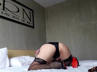 Flexible lady in nylon and satin lingerie Hot bitch in a maid costume Hotel maid PART