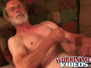 Horny granddad observes porno while draining off