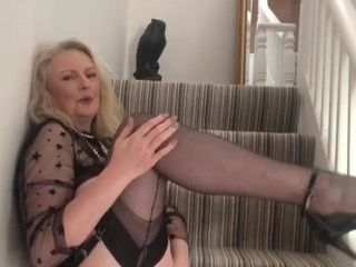 'Annabel's pussy play on the stairs'