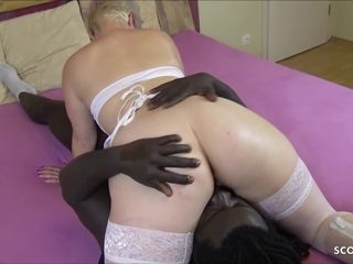 German mommy at bi-racial Nurse Roleplay and jism on cootchie